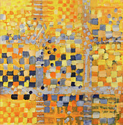 Geometric Abstraction Mixed Media - Blue and Yellow by Irma   Ostroff