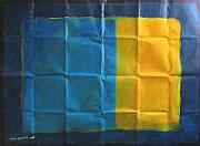 Color Reliefs - Blue And Yellow by Lavih Serfaty
