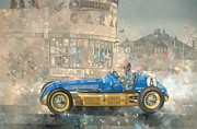 Racer Painting Framed Prints - Blue and Yellow Maserati of Bira  Framed Print by Peter Miller