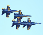 Jet Prints - Blue Angels 4 Team Formation 3 Print by Wingsdomain Art and Photography