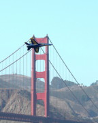 Air Show Framed Prints - Blue Angels Crossing the Golden Gate Bridge 3 Framed Print by Wingsdomain Art and Photography