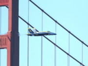 Brdige Prints - Blue Angels Crossing the Golden Gate Bridge 4 Print by Wingsdomain Art and Photography