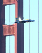 Jet Posters - Blue Angels Crossing the Golden Gate Bridge 7 Poster by Wingsdomain Art and Photography