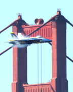 Jet Posters - Blue Angels Crossing the Golden Gate Bridge 9 Poster by Wingsdomain Art and Photography