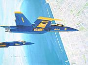 F-18 Paintings - Blue Angels by Dennis D Vebert