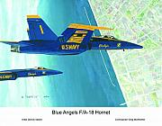 F-18 Painting Posters - Blue Angels Poster by Dennis Vebert
