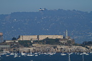 Sail Boats Prints - Blue Angels Fat Albert C130T Hercules Over Alcatraz . 7D7930 Print by Wingsdomain Art and Photography