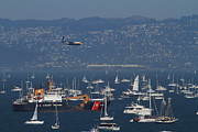 Sail Boats Prints - Blue Angels Fat Albert C130T Hercules Over San Francisco Bay. 7D7934 Print by Wingsdomain Art and Photography