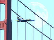 Jet Digital Art - Blue Angels Golden Gate and Moon by Wingsdomain Art and Photography