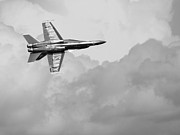 Jet Posters - Blue Angels in the Cloud . Black and White Photograph Poster by Wingsdomain Art and Photography