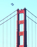 Brdige Prints - Blue Angels Soaring Above the Golden Gate Bridge Print by Wingsdomain Art and Photography