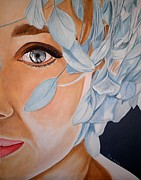Audrey Hepburn Paintings - Blue Audrey by Al  Molina