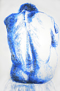 Figure Drawing Pastels Prints - Blue Back Print by Karen A Robinson