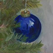 Kristine Kainer Paintings - Blue Ball on Christmas Tree by Kristine Kainer