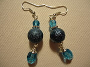 Handmade Jewelry Jewelry Posters - Blue Ball Sparkle Earrings Poster by Jenna Green