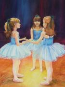 Ballet Dancers Paintings - Blue Ballerinas by Deb Magelssen