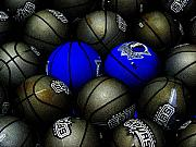 Basketball Art - Blue Balls by Ed Smith