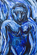 Primitive Raw Art Paintings - Blue Barbarous Woman by Kazuya Akimoto
