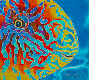 Animals Tapestries - Textiles Prints - Blue Barred Orange Parrotfish Print by Daniel Jean-Baptiste