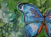 Michele Hollister - for Nancy Asbell - Blue Batik Butterfly