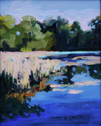 South Carolina Low Country Marsh Paintings - Blue Bayou by Barbara Benedict Jones