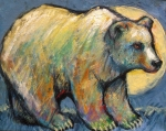 Full Moon Paintings - Blue Bear Grizzly Bear in a Full Moon by Carol Suzanne Niebuhr