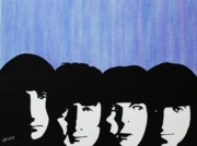 Beatles Mixed Media Originals - Blue Beatles by Kenneth Regan