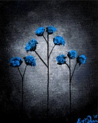 Oddball Art Painting Prints - Blue Beauties Print by Oddball Art Co by Lizzy Love