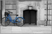 Selective Coloring Art Framed Prints - Blue Bicycle Framed Print by Sophie Vigneault