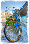 Tropical Sunset Prints - Blue Bike Print by Debra and Dave Vanderlaan
