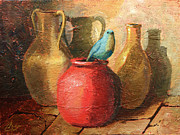 Jars Paintings - Blue Bird and Pottery II by Christopher Clark