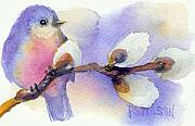 Bluebird Paintings - Blue Bird and Pussywillow by Peggy Wilson