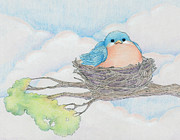 Nest Drawings - Blue Bird by CarrieAnn Reda