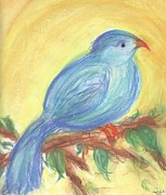 Time Pastels Posters - Blue Bird Poster by Paula Cork