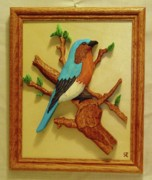 Branch Sculpture Framed Prints - Blue-Bird  Framed Print by Russell Ellingsworth