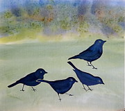 Fabric Tapestries - Textiles Originals - Blue Birds by Carolyn Doe