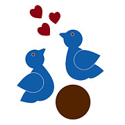 Lovers Drawings Prints - Blue Birds Print by Frank Tschakert