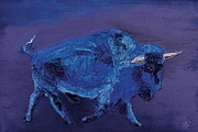 Buffalo Reliefs - Blue Bison by Mike Aitken