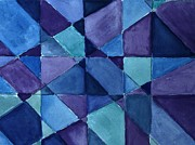 Blues Paintings - Blue Blanket Quilt by Marsha Heiken