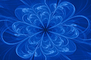 Abstract Designs Posters - Blue Bloom Poster by Sandy Keeton