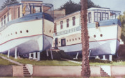 Blue Framed Prints - Blue Boat Apartments Encinitas Framed Print by Mary Helmreich