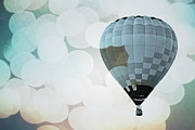 Celebration Art Print Photo Prints - Blue Bokeh Balloon Print by Andrea Hazel Ihlefeld