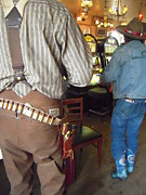 Revolvers Photos - Blue Boots in a Nevada Bar by Don Struke