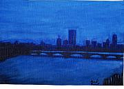 Boston Ma Painting Metal Prints - Blue Boston Metal Print by David Poyant