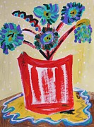 Visionary Art Drawings - Blue Bouquet on Red by Mary Carol Williams