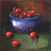 Blue Bowl Posters - Blue Bowl and Cherries Poster by Linda Hiller