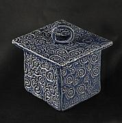 Spiral Ceramics - Blue box with circle on lid by Martha Hamblin