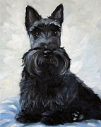 Scottie Painting Posters - Blue Boy Poster by Mary Sparrow Smith