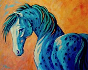 Abstract Equine Prints - Blue Boy Print by Theresa Paden