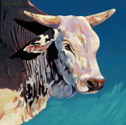Bulls Painting Originals - Blue Brahma by Bob Coonts